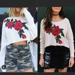 LF Furst Of A Kind Thermal Crop Top Ivory Roses M